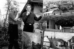 03  Gornicy kopalni Wieczorek, Katowice 1974 Gornik Ewald Gawlik, malarz amator ze  swoimi obrazami